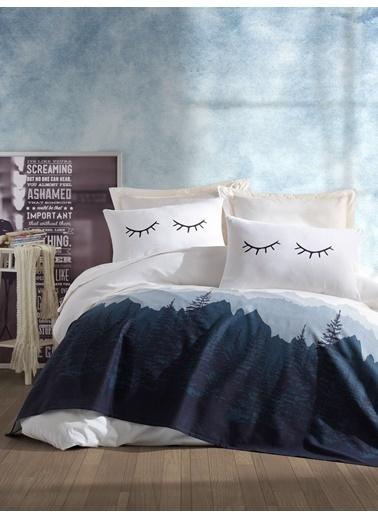 EnLora Home Enlora %100 Doğal Pamuk Pike Örtü Çift Kişilik Eyelash  Beyaz